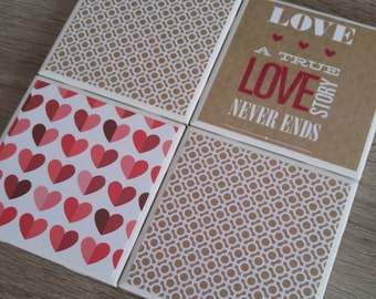 Ceramic tile coaster set handmade with love for the perfect gift