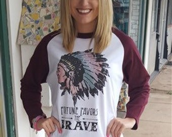 Baseball tee- Fortune favors the brave