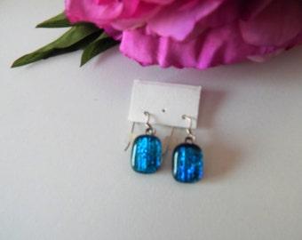 Blue Fused Glass Earings