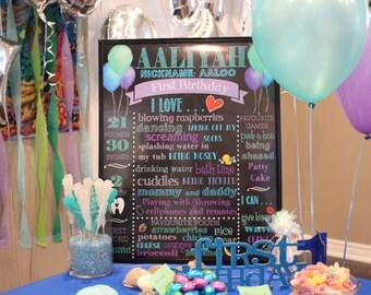 First Birthday Chalkboard Poster/1st Birthday Chalk Sign/First Birthday Chalk Poster/Mermaid Birthday Decor/Under the sea Birthday