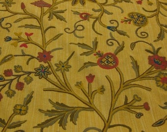 SALE!The Aiken Collection, Crewel Fabric by Van Lathem.Fabric Name: Galahad,Gold,brown,red & green. Horse/Dog Collection. Floral