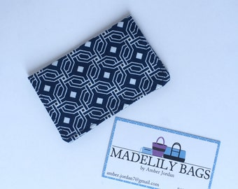 Credit Card,Business Card, Gift Card Holder, Navy and White