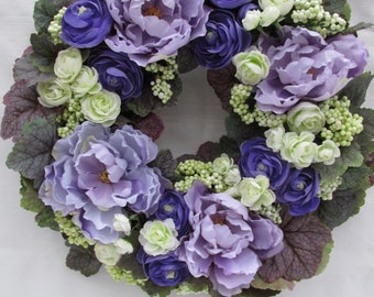 A Garden Wreath of Peonies and Ranunculus: Grapevine Wreath/Lavender Peony Flowers/Everlasting Flowers/Door Wreath/WallWreath/Spring/Summer