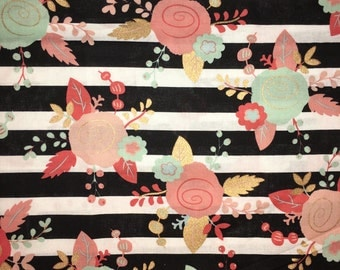 Coral & Teal Black Gold Metallic White Striped Floral Apparel Quilting 100% Cotton Fabric 1 Yard