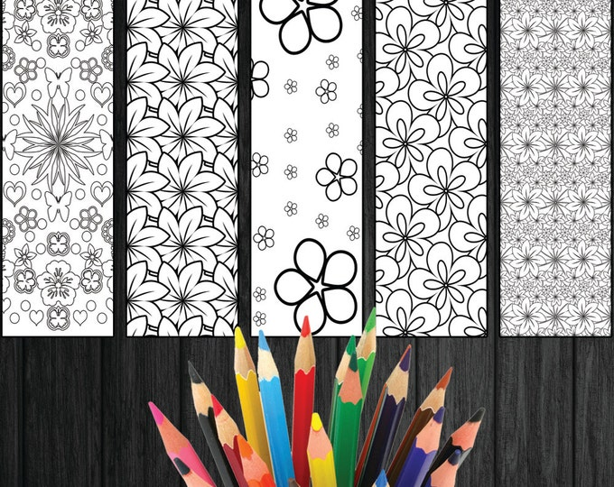 Color In Bookmarks, Printable Bookmarks, Instant Bookmarks, Flowers Bookmark, Adult Bookmarks, Pattern Bookmarks, Coloring Bookmarks Set