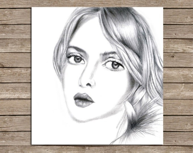 Original Hand Drawings, Print Woman Art, Pencil Drawing, Hand Drawn Girl, Graphite Printable, Digital Pencil Portrait, Beautiful Girl Poster