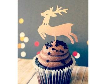 Reindeer. Christmas. Deer. Cupcake Toppers. Christmas Cupcake Toppers. Reindeer Cupcake Toppers.