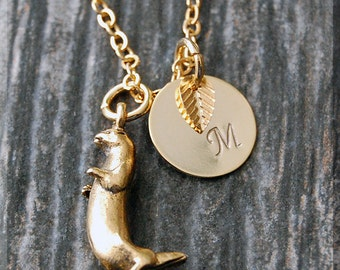 Gold Otter Charm Necklace, Initial Charm Necklace, Personalized, Otter Pendant, Sea Otter Jewelry, Monogram Critter Necklace