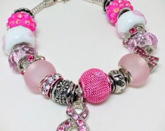Breast Cancer Awareness Swarovski Element Crystal Charm  Bracelet