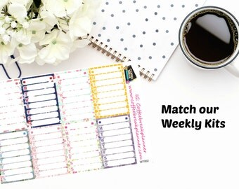 Planner Stickers |Sidebar Weekly Tracker Sticker Kit Colors|Weekly Tracker Sticker|Schedule Tracker Sticker|Time Tracking Sticker|WT002
