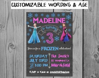 Custom Chalkboard Frozen Birthday Invitation Frozen Party Anna Elsa Party Girl Birthday Personalized Frozen Invitation 3rd Birthday Party