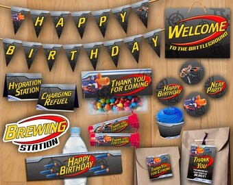 Dart Tag Kit Birthday Party - INSTANT DOWNLOAD - Dart Wars Deluxe Package Printables Decoration Bundle Birthday Party - Dart Tag Party