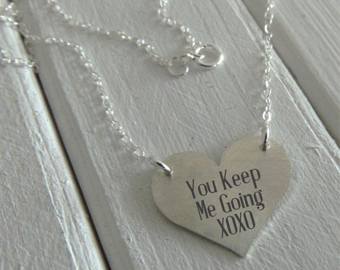 Custom Silver Heart Pendant - Choose a font or sumbit handwriting - Perfect For Layering -Jewelry For Her - Sterling Silver Jewelry,Classic