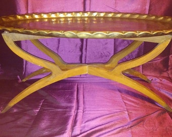 Midcentury modern, brass tray topped coffee table