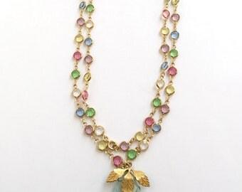 Pastel Bezel Set Gold Tone Upcycled Necklace