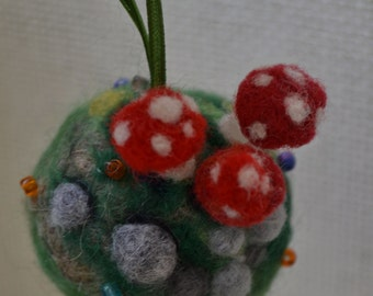 Personalized Christmas Bauble, Felted Amanitas Ball, Needle felted