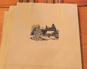 Hand stamped gift bag 8x10
