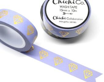 Chichi Co - Gold Foil Gem on Lilac Washi Tape. 15mm x 10m Chichi Collection. Gorgeous Gold Foil Masking Tape. Purple, Lavender.