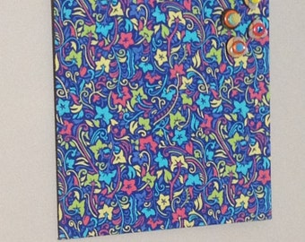 fabric covered magnet board 10x11 blue flower print