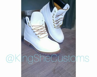 White Timberland Construction Boot