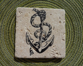 Anchor Stone Coasters ~ Set of 4