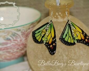 Yellow Green Orange Butterfly Wing Earring