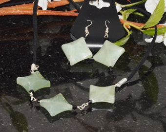 Jade necklace and earring set