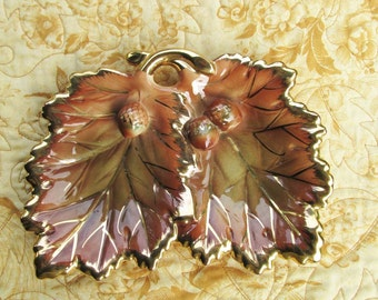 Brown and Gold Lustreware Nut Dish, Leaf and Acorns Candy Dish, Vintage Glassware, Autumn Decor