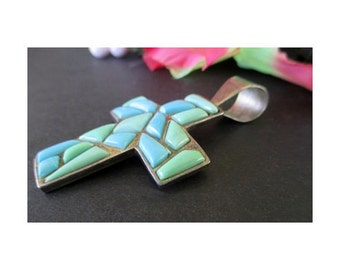 Cross Pendant * Artisan Silver And Turquoise By JAY KING * Desert Rose Trading Company