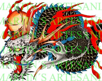 Asian Dragon painted wooden pencils