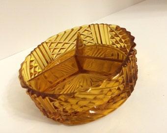 Vintage amber glass divided dish unique design