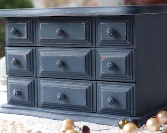 Dark Blue Cottage Chic Vintage Storage Organization Box