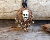 Boho necklace, gypsy necklace, Skull bead necklace, wire wrapped with tribal bells on rayon necklace
