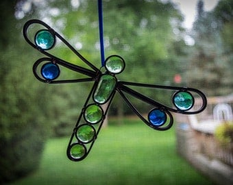 Stained Glass Garden Whimsy Dragonfly