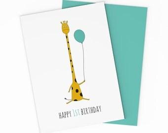 PRINTABLE Baby Boy 1st Birthday Card - Digital Happy 1st Birthday Card. Giraffe Birthday Card. Happy Birthday Card. For Boys. Printable Card