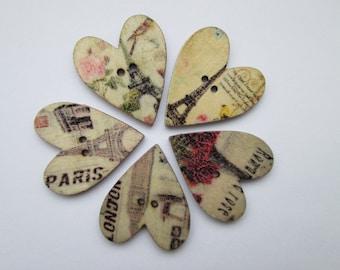Heart 25 x 29 mm 5 wooden buttons
