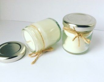 Wedding Favour mini Jar Candles / Soy wax/ reusable glass Jar / jam jars /silver lid / mini favours/ weddings baby shower . White candle