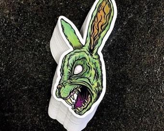 "Single - The Horror Corner Bunny Head Vinyl Sticker --- sized 3 1/2""x2"" - on sale"
