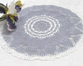 Lace crochet doily 17 inches diameter Round silver doily Living room decor Hand crochet doilies Valentine's day