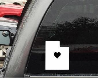 Utah Car Decal Sticker Home Grown With Heart or Plain