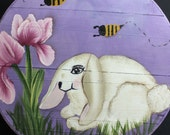 Backyard Bunny and Bees Hand Painted Re Purposed Wood Cheese Box. Uses: Gift Box, Storage, Organization, Decor, & focal point of a vignette.