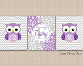 Owl Nursery Wall Art,Owl Wall Art,Lavender Gray Nursery Wall Art,Purple Gray Chevron Nursery,Owl Nursery Decor,Owl Baby Deco-UNFRAMED C399