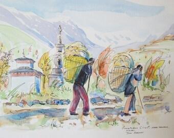 Original Watercolor Sketch, Annapurna Circuit Near Manang, Nepal