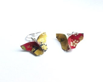 Bijou origami papillon boucles d'oreille, butterfly origami earrings