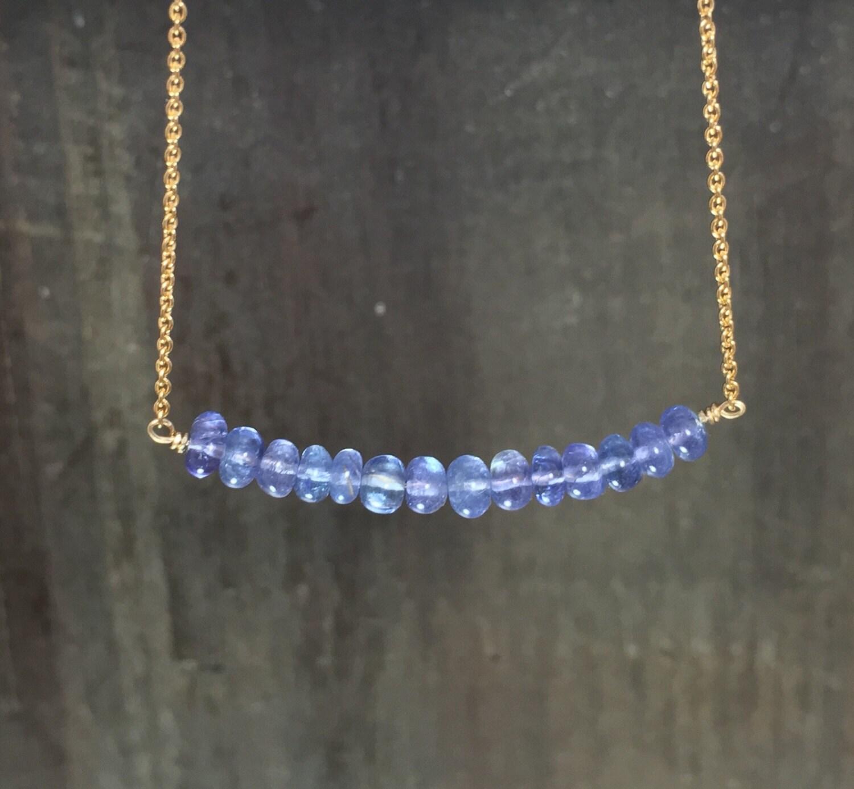tanzanite beaded necklace lavender bar necklace genuine