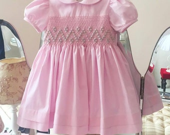 Pink Dress Smock Embroidered