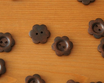 Floral Wood Button 6-petal for Coat 2 holes Brown 25mm Flower Mori Style Retro Deco Parts Beads Sewing Knit Embellishment Craft DIY