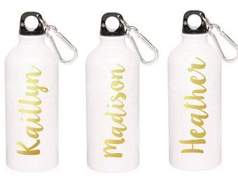 Personalized Water Bottle- Aluminum-Gold Foil-  White-20oz water bottle