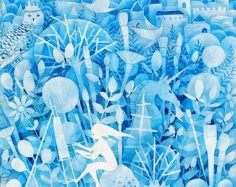 Fairytale Magic Kingdom of Dreams Art Print of Original Watercolor Illustration for Children's Room or Nursery Baby Kids Art