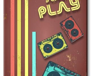 Retro Rewind and Play Wood Print